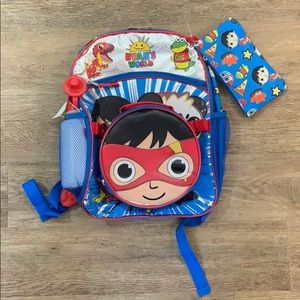 Ryan's World School backpack Bookbag 5 Piece Set